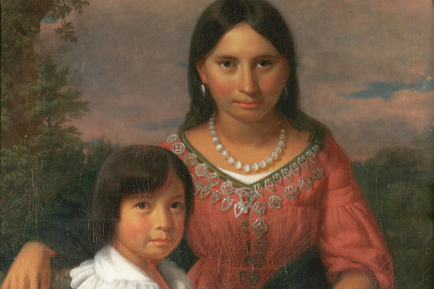 This painting of Pe-o-ka, one of Osceola's two wives, and their son, was incorrectly identified as Pocahontas and her son for more than 160 years.
