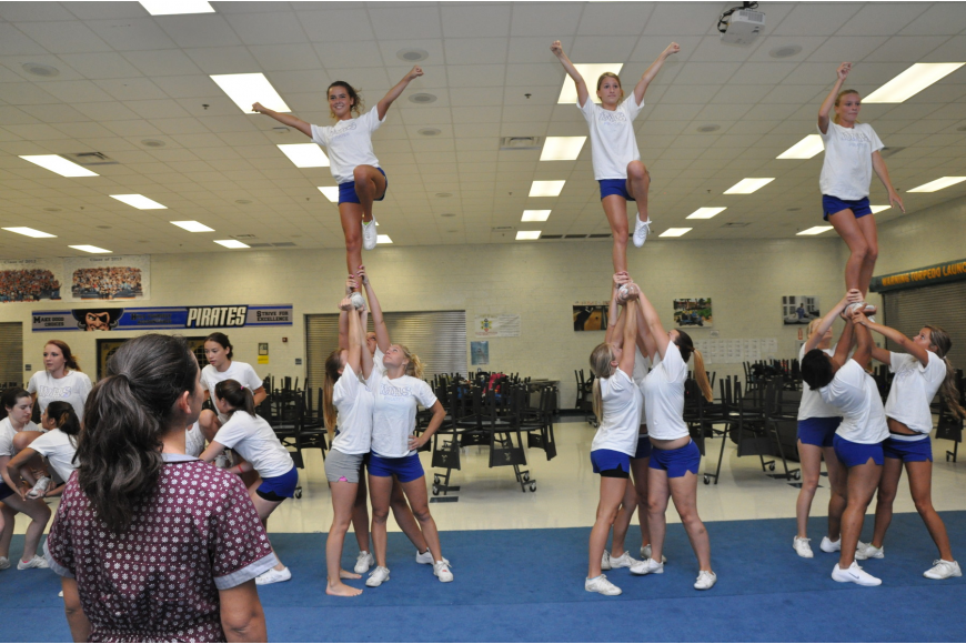 New cheerleading coach Melissa Forte watches as her squad practices a stunt. PHOTO BY SHANNA FORTIER