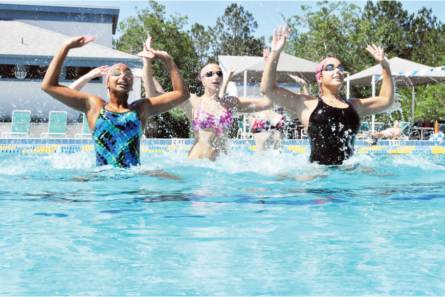 Alexis Solomon, Emily Petkovsek and Carolyne Vasconcellos, three members of the Flagler County Synchro Belles, won their sixth straight state championship June 12.
