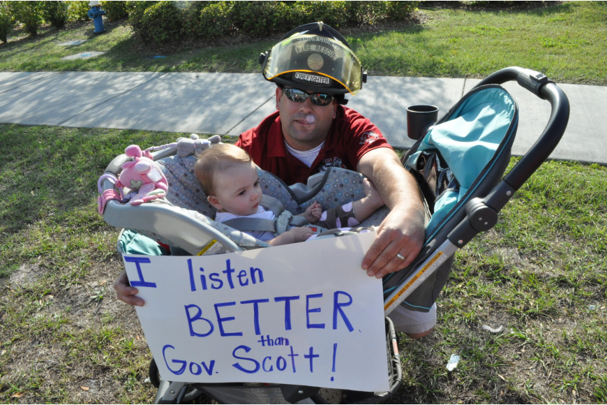 Mike Dolce, firefighter in Marion County, and daughter Rylee, whose mom is a teacher
