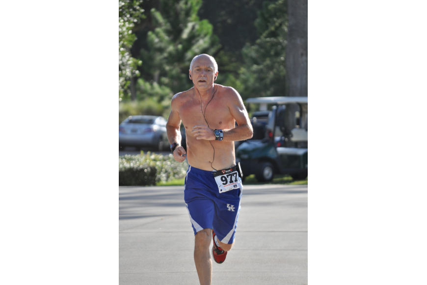 Donnie Walker, 59, finished the two-mile race seventh overall.