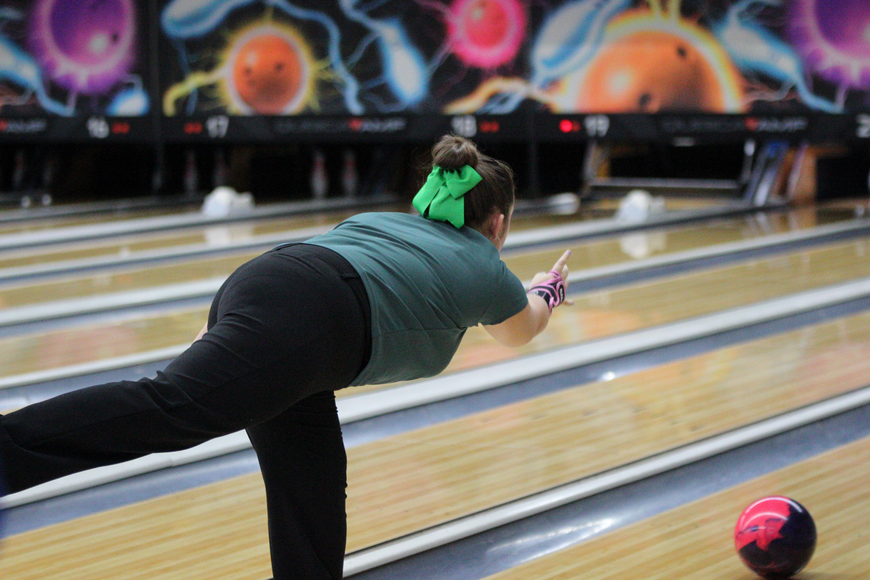 Taylor Fletcher rolls a strike during FPC's game No. 2 win.